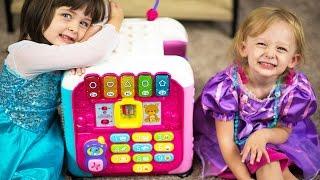 getlinkyoutube.com-Elsa & Princess Rapunzel Dress Up & VTECH Alphabet Activity Cube Baby Toys Review Kinder Playtime
