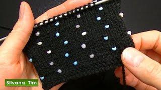 getlinkyoutube.com-Cómo agregar perlas (abalorios, cuentas, mostacillas) Tejido con dos agujas # 527