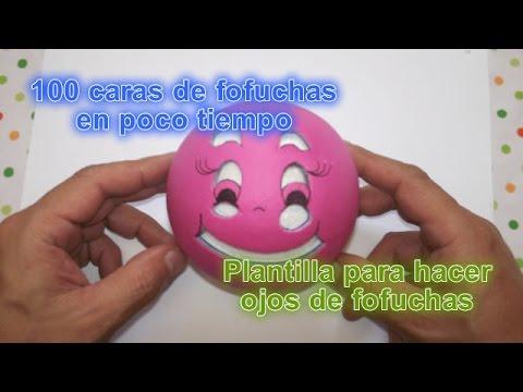100 caras de fofuchas en minutos Plantillas de ojos para fofuchas en foami o goma eva