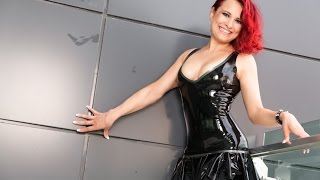 getlinkyoutube.com-Latex Mini Dress on Balcony Hotel on Turkeys Holidays