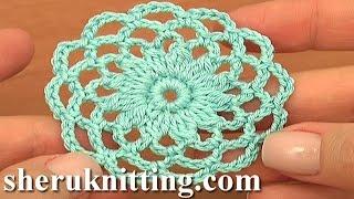 getlinkyoutube.com-Crochet Round  Motif Tutorial 10 Part 1 of 2 Crochet Circle Pattern