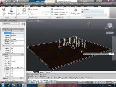 Belajar Video Tutorial AutoCAD - Menyimpan Tampilan View dan Camera Pra Render