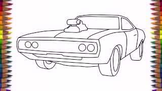 getlinkyoutube.com-How to draw a car Dodge Charger 1970 step by step easy for kids and beginners
