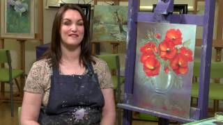 getlinkyoutube.com-Poppies in Glass floral oils - Paint With Maz Online Classes