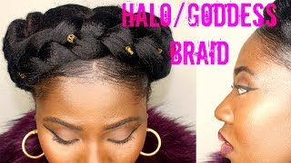 getlinkyoutube.com-Halo Braid On Natural Hair
