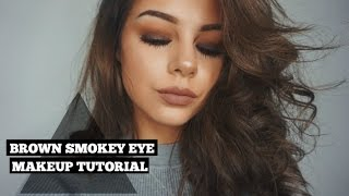getlinkyoutube.com-Brown Smokey Eye | All Drugstore Makeup With New Products