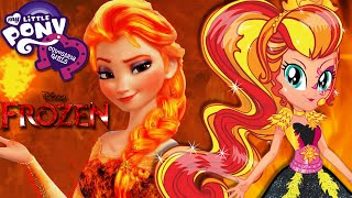getlinkyoutube.com-💫 MLP Equestria Girls Sunset Shimmer and Disney Princess Frozen Elsa Fire Makeover Game
