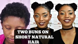 getlinkyoutube.com-How To Two Buns Tutorial On Short Natural Hair
