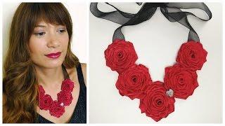 getlinkyoutube.com-DIY Ribbon rose necklace I How to make ribbon roses