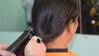 getlinkyoutube.com-Long ponytail to short bobcut