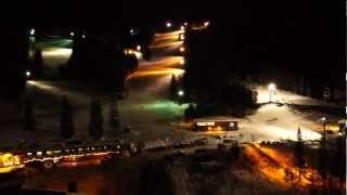 Night flight over Whitefish Ski Resort