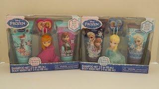getlinkyoutube.com-Disney Frozen Elsa & Anna Soap & Scrub Set Bath Scrubby Hook Shampoo & Body Wash
