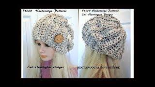 getlinkyoutube.com-Free Crochet pattern- Beginner UNISEX SLOUCHY HAT , adult size, #1060,