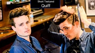 getlinkyoutube.com-Mens Haircut & Hairstyle | Short Textured Quiff Hair Tutorial