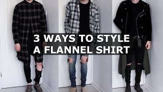 getlinkyoutube.com-3 Ways to Style a Flannel Shirt | Oversized, Longline, Plaid Shirt | Gallucks