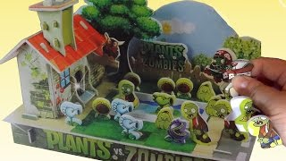 getlinkyoutube.com-Let's Build DIY Plants VS Zombies Diorama Playset Football Zombie Peashooter Snow Pea Chomper Squash