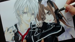 getlinkyoutube.com-Speed Drawing - Zero and Yuuki (Vampire Knight)