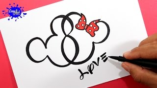 getlinkyoutube.com-Como dibujar un corazón Mickey Mouse / How to draw a heart Mickey Mouse.