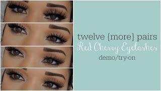 getlinkyoutube.com-{12 MORE Pairs} Red Cherry Eyelashes Try-On/Demo