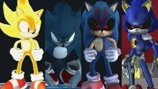 getlinkyoutube.com-Sonic Battle Royale - Super Sonic VS Sonic Werehog VS Sonic.EXE VS Metal Sonic