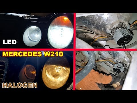 Mercedes W210 How to install LED bulbs H7 in Dipped Beam/Installation LED H7 6500K on Mercedes