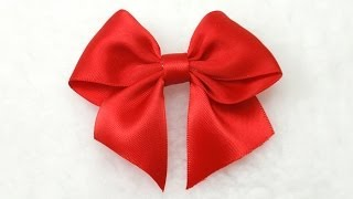 getlinkyoutube.com-Make Simple Easy Bow, DIY, Ribbon Hair Bow, Tutorial, Bow #3