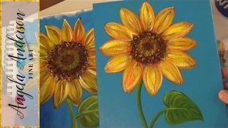 getlinkyoutube.com-Sunflower Painting Tutorial | Free Easy Acrylic Painting Lesson for Beginners | How to Paint Flowers