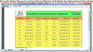 Visual Basic tutorial-Data Report using Data Environment (Print and Export report)-Step by Step width=
