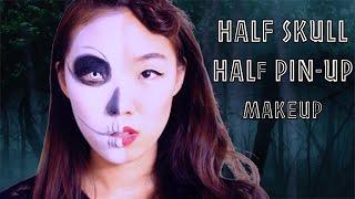 getlinkyoutube.com-Half skull / Half classic pin up doll makeup NYX FACE AWARDS ENTRY 2015