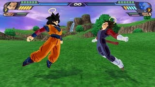 getlinkyoutube.com-Goku SSJ4 and Vegeta SSJ4 in full Gi fuse into Vegeto SSJ4 (DBZ Tenkaichi 3 Fusion Mod)