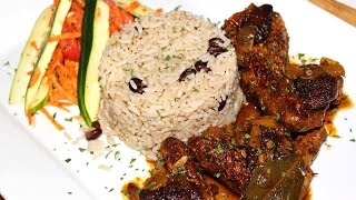 getlinkyoutube.com-Caribbean Brown Stew Chicken with Rice & Peas Recipe
