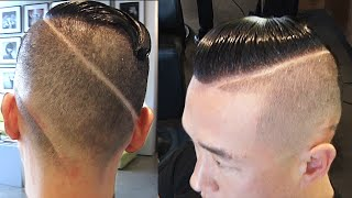 getlinkyoutube.com-Old School Ronaldo Haircut | High Fade With Unique Design Cut Into Back