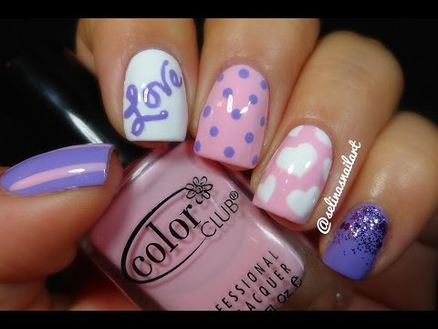 ♥Pink & Purple Valentines Nail Art