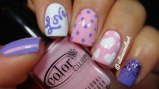 getlinkyoutube.com-♥Pink & Purple Valentines Nail Art