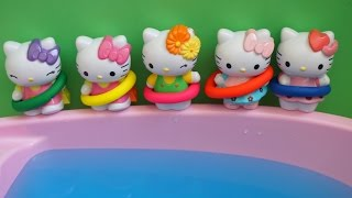 getlinkyoutube.com-Five Hello Kitty Jumping on the bed compilation - Jumpingonthebed Water Pool Swiming Nursery Rhymes