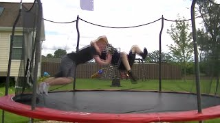 getlinkyoutube.com-Top 50 WWE Finishers of 2014 on Trampoline