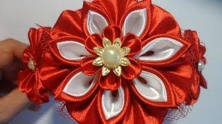 getlinkyoutube.com-Красный ободок для волос Канзаши / kanzashi flowers tutorial