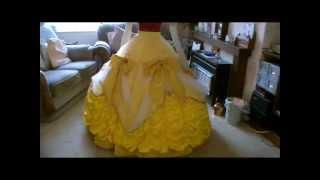 getlinkyoutube.com-Disney Belle Gold Ball gown Skirt Tutorial Part 3