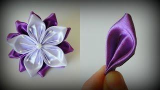 getlinkyoutube.com-Цветок канзаши Сиреневая нежность