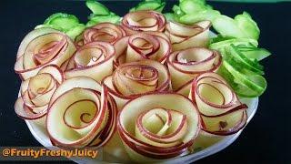 Art In Apple Flower Design - How To Make Apple Rose Garnish