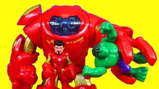 getlinkyoutube.com-Iron Man Tony Stark Armor Tech Robot Suit with Hulk Playskool Marvel Super Hero Imaginext