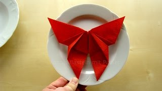 Servietten falten: Schmetterling - Deko Ideen basteln mit Papier-Servietten - Ostern DIY