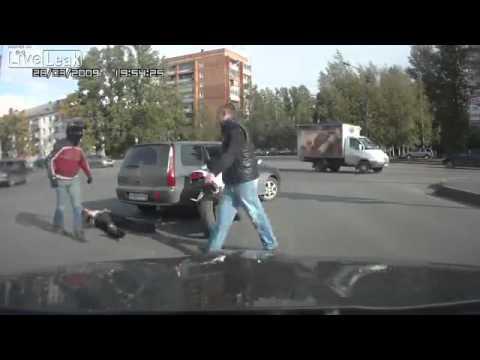 Rosyjscy kierowcy zawsze chętni do bitki