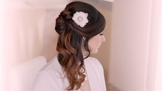getlinkyoutube.com-Wedding hairstyle tutorial. Prom half up half down with curls for long hair