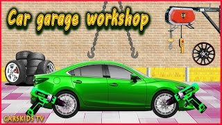 Car Service  Car Garage  CAR WASH  Videos For Children  Green Car