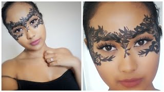 getlinkyoutube.com-Lace Masquerade Mask DIY Halloween Makeup