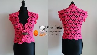 getlinkyoutube.com-How to crochet elegant bolero  chaleco shrug free tutorial pattern subtítulos en español