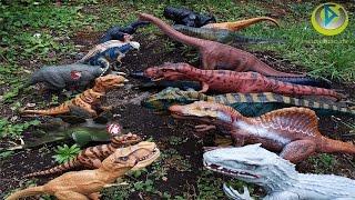 getlinkyoutube.com-Mosasaurus Jurassic Park world collection comparative indominus rex mosasaurio toy craft