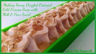 getlinkyoutube.com-Making Honey Drizzled Oatmeal Cold Process Soap with Melt and Pour Swirl
