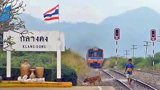 getlinkyoutube.com-Thai Railway รถดีเซลราง at Klang Dong Station, Northeast Line สถานีกลางดง